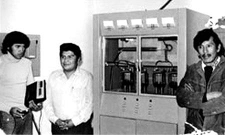De izquierda a derecha: Daniel Saloma, Don Paulino Garcia y Profesor Oscar Alvarado. Año 1975